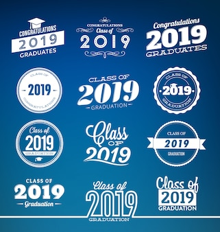Class of 2019 typographic graduation design set