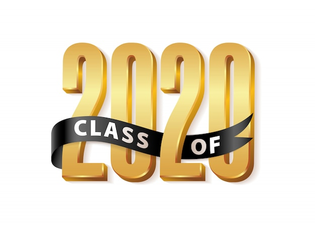 Class of 2020. gold graduation 3d logo with black ribbon