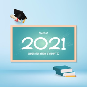 Class of 2021 congratulation greeting card class graduation with hat and diploma