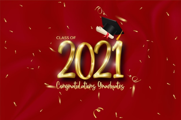 Class of 2021 graduation banner with golden number, confetti, diploma and cap