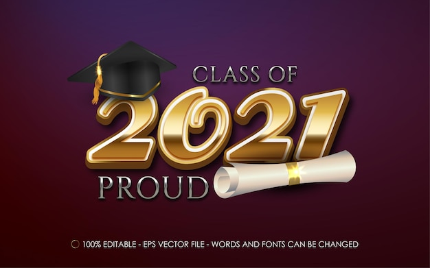 Class of 2021 graduation text for banner