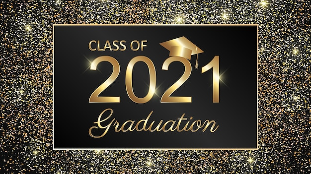 Class of 2021 graduation text design for cards, invitations or banner