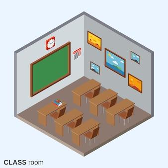 Class room flat isometric vector illustration