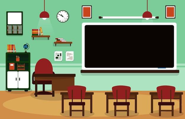 교실 학교 아무도 교실 칠판 테이블 의자 교육 삽화