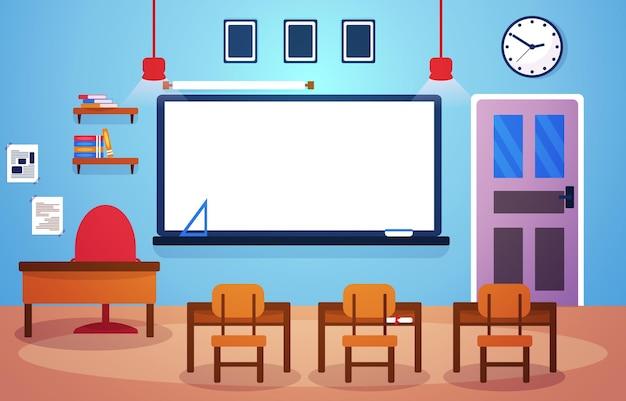 교실 학교 아무도 교실 화이트 보드 테이블 의자 교육 삽화