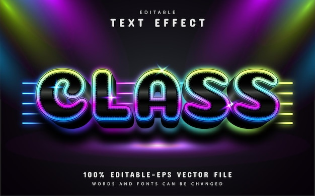 Class text effect neon style