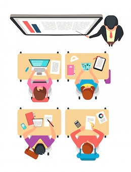 Class top view. students and teacher learning in college classroom with blackboard vector illustration