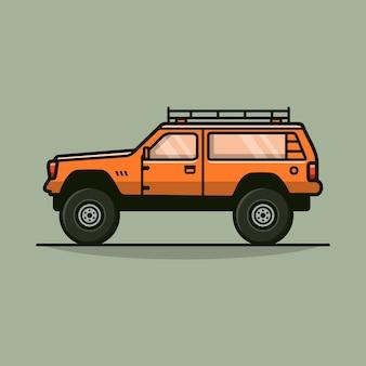 클래식 4wd 자동차 오프로드 큰 바퀴 벡터 일러스트 레이 션 평면 디자인