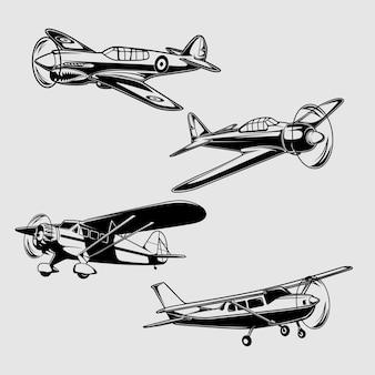 古典的な飛行機のイラスト