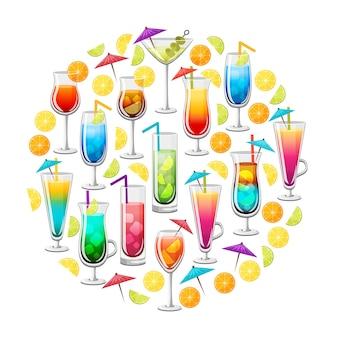 Классические алкогольные коктейли круглый дизайн