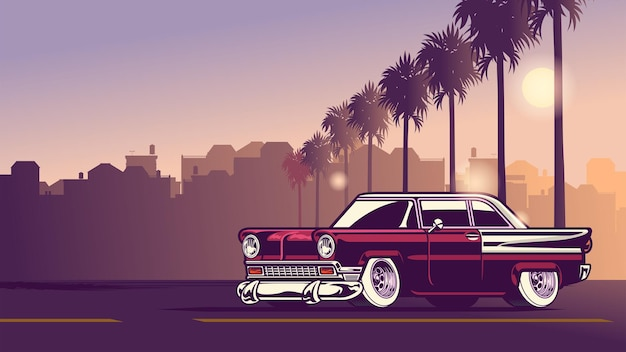 Classic american in the downtown city sunset