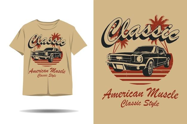 고전적인 미국 근육 고전적인 스타일의 실루엣 tshirt 디자인