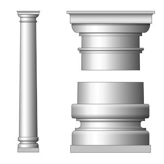 古典的な古代の柱。白地に