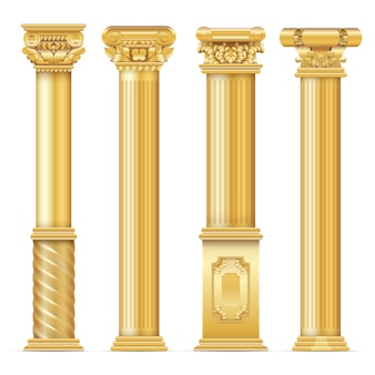 Classic antique gold columns  set.  of architecture column, architectural classic pillar