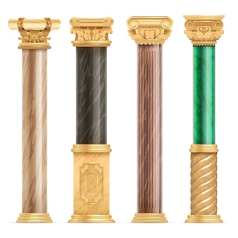 Classic arabic architecture golden columns with stone marble pillar vector set isolated.