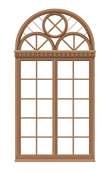 Classic arched window of wood in medieval style for the church or castle.