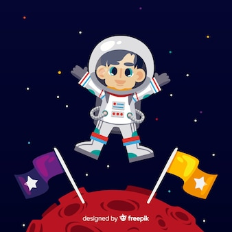 Классический персонаж космонавта с плоским дизайном