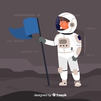 フラットデザインのクラシック宇宙飛行士キャラクター