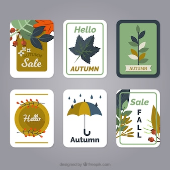 フラットデザインのクラシックな秋のカードパック