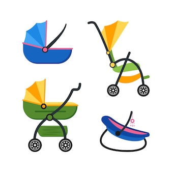 Classic baby carriage set on flat design style
