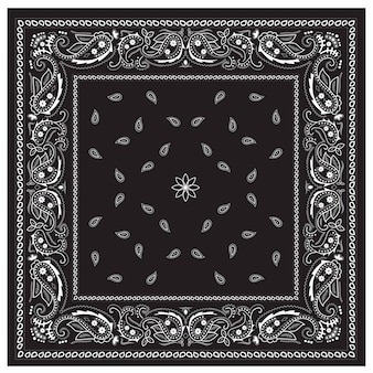 Classic bandanna print ornament black and white