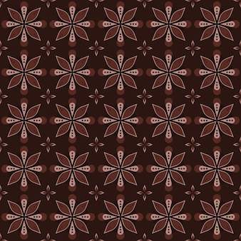 Classic batik seamless pattern background. luxury geometric mandala wallpaper. elegant traditional floral motif in brown color
