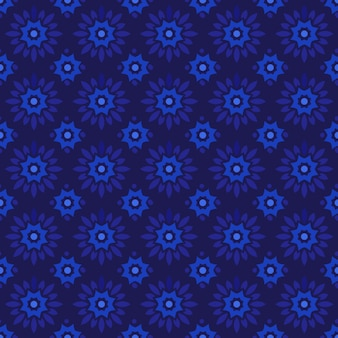Classic batik seamless pattern background. luxury geometric mandala wallpaper. elegant traditional floral motif in dark blue color