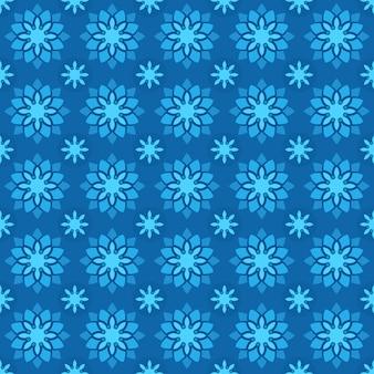 Классический батик бесшовный фон фон. роскошные геометрические обои мандалы. элегантный традиционный цветочный мотив в синем цвете