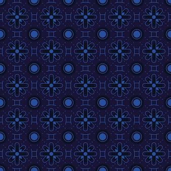 古典的なバティックのシームレスなパターン背景。豪華な幾何学的なマンダラの壁紙。ブルーネイビーカラーのエレガントなトラディショナルフローラルモチーフ