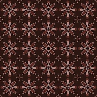 古典的なバティックのシームレスなパターン背景。豪華な幾何学的なマンダラの壁紙。茶色のエレガントな伝統的な花のモチーフ
