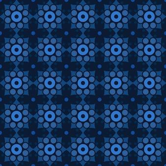 古典的なバティックのシームレスなパターン背景。豪華な幾何学的なマンダラの壁紙。ダークブルーのエレガントなトラディショナルフローラルモチーフ