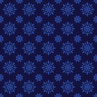 Классический батик бесшовный фон фон. роскошные геометрические обои мандалы. элегантный традиционный цветочный мотив темно-синего цвета