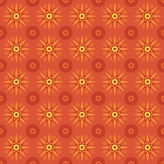 Classic batik seamless pattern background. luxury geometric mandala wallpaper. elegant traditional floral motif in orange color
