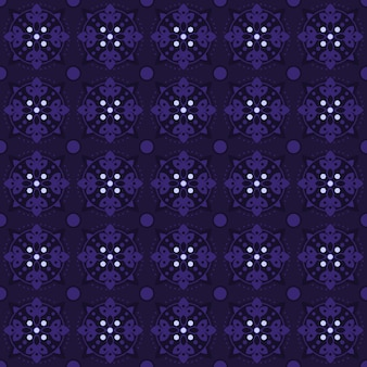 Classic batik seamless pattern background. luxury geometric mandala wallpaper. elegant traditional floral motif in purple color