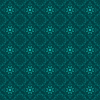 Classic batik seamless pattern background. luxury geometric wallpaper. elegant traditional floral motif in green color