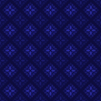 Classic batik seamless pattern background. luxury geometric wallpaper. elegant traditional floral motif in navy color