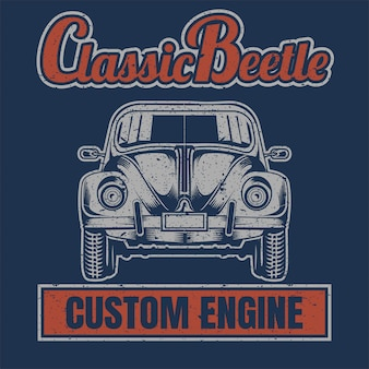 Classic beetle,vintage style, posters,t shirt and printed products.