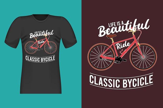 클래식 자전거 손으로 그린 빈티지 레트로 티셔츠 디자인