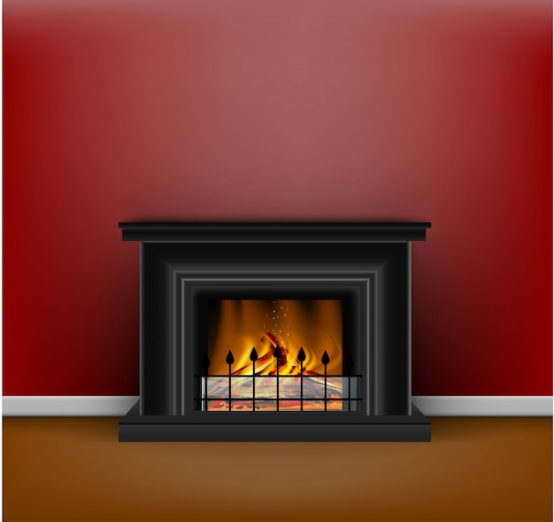 Classic black fireplace with a blazing fire for interior design in sandy or hygge style on red