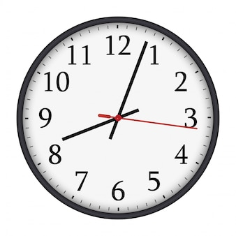 Classic black and white round wall clock