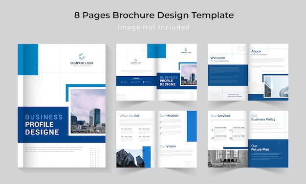 Classic blue 8 pages company profile brochure set