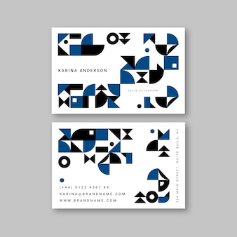 Classic blue business card template in abstract style