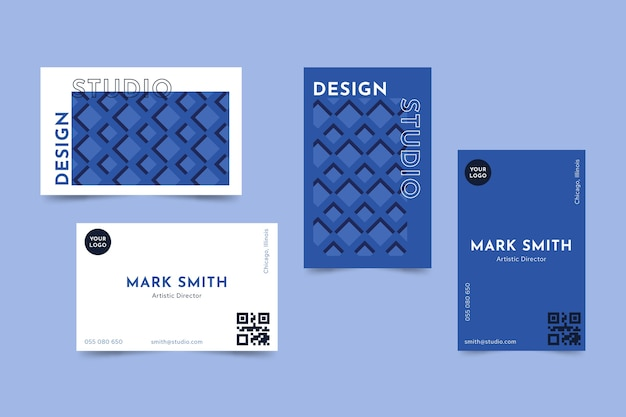 Classic blue business card template concept