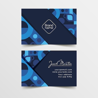 Classic blue business card template Free Vector