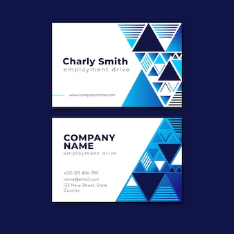 Classic blue business card template
