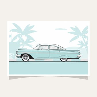 Classic blue car conceptual design flat illustration vector