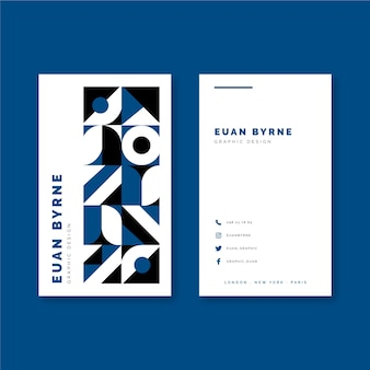 Classic blue color geometric business card