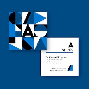 Классический синий дизайн для шаблона визитной карточки