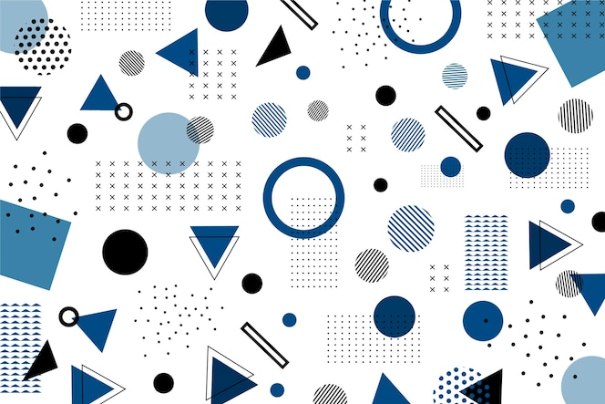 Classic blue flat geometric shapes background