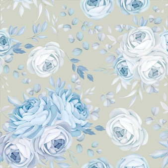 Classic blue floral seamless pattern design